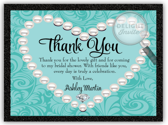 diamonds pearls bridal shower thank you cards