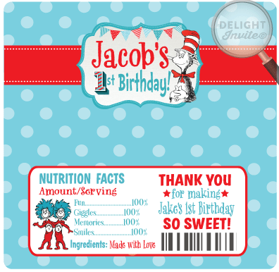 Dr. Seuss 1st Birthday Candy Bar Wrappers Labels [DI-359CW ...