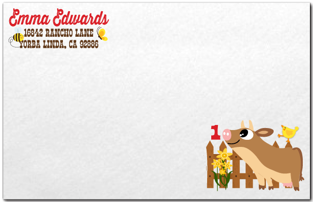Barn Animals Farmer Birthday Invitation Envelope Di 270env