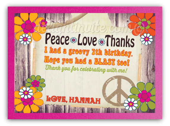 Peace Love Hippie Flower Child Thank You Cards Di 245ty