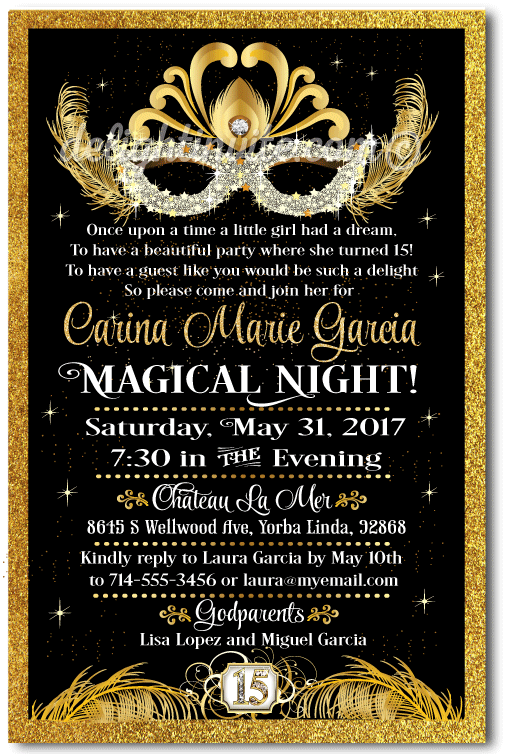 Black Masquerade Quinceanera Invitation