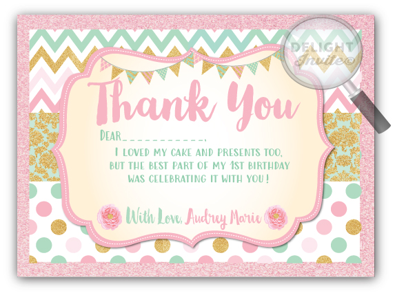 Mint Pink And Gold 1st Birthday Thank You Cards Di 630ty