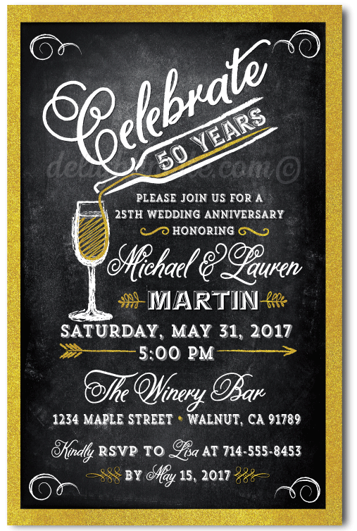 Cheers For 50 Years Gold Anniversary Party Invitations