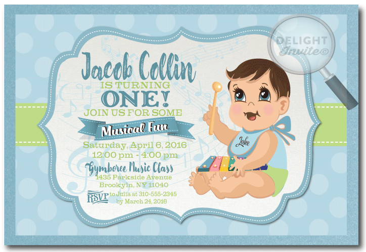 Gymboree musical baby first birthday invitation di 351 ministry gymboree musical baby first birthday invitation filmwisefo