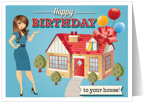 happy birthday to your house real estate card 15227