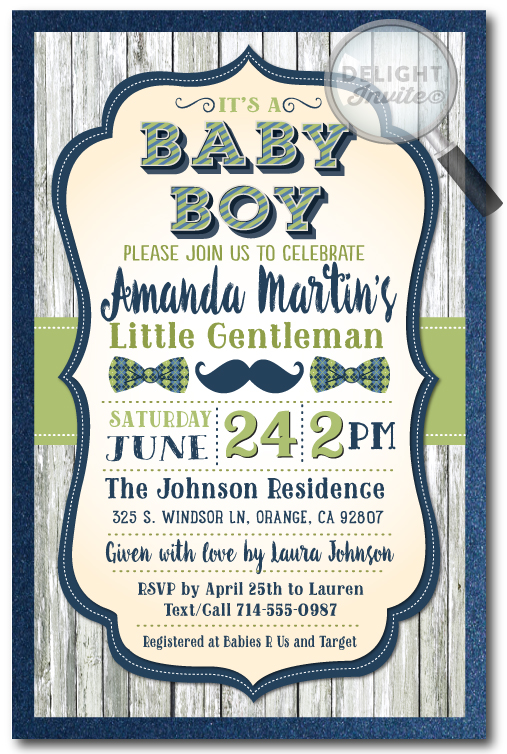 Little Gentleman Mustache Bowtie Baby Shower Invite