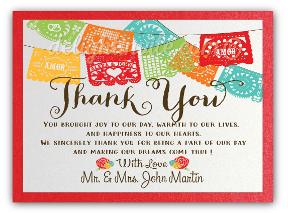 mexican fiesta paper flag wedding thank you cards di 5018ty