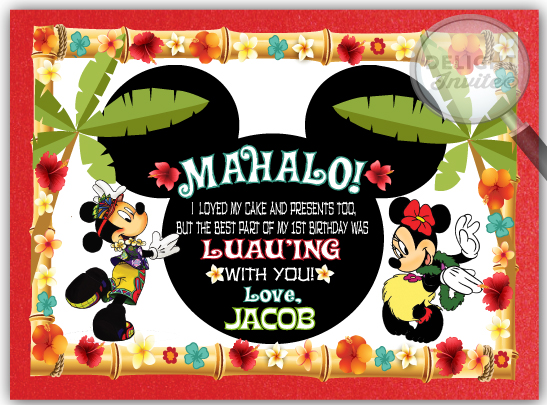 Mickey and minnie hawaiian luau party thank you cards di 354ty mickey and minnie hawaiian luau party thank you cards m4hsunfo