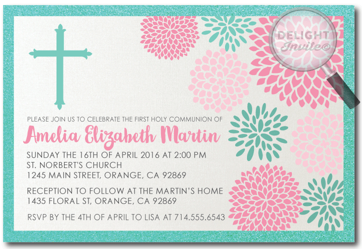 Modern Spring Floral First Holy Communion Invitations