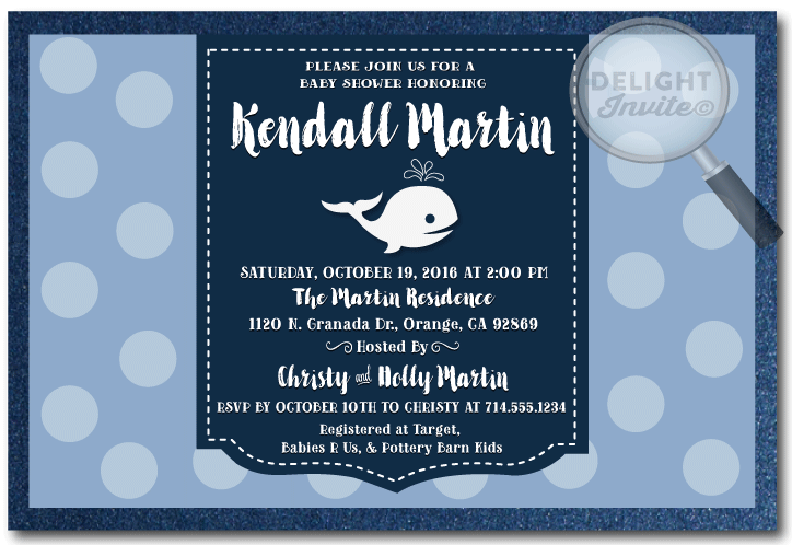 nautical whale polkadot baby shower invitations whale polkadot baby