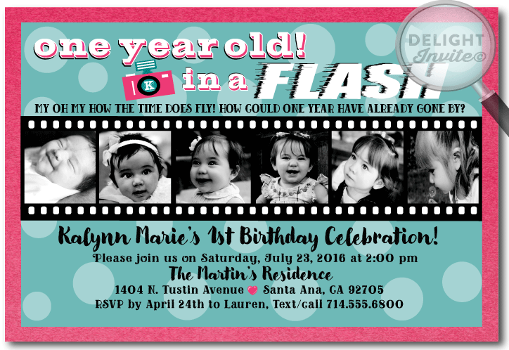 One Year in a Flash 1st Birthday Party Invitation DI256