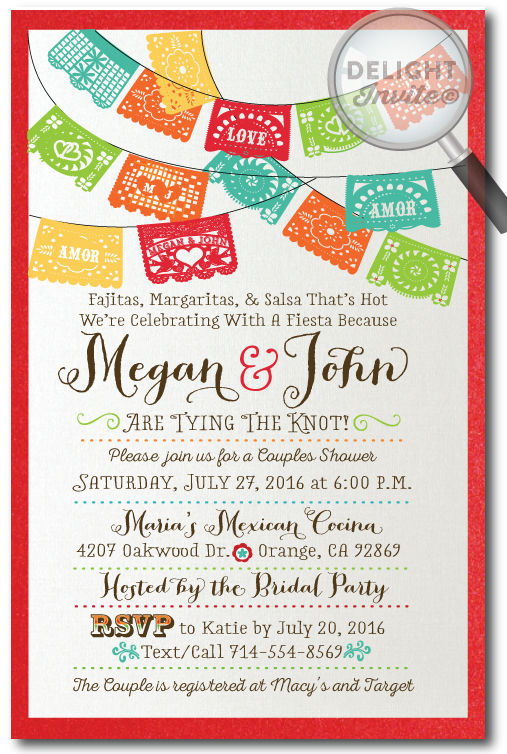 Paper Flags Fiesta Bridal Shower Invitations