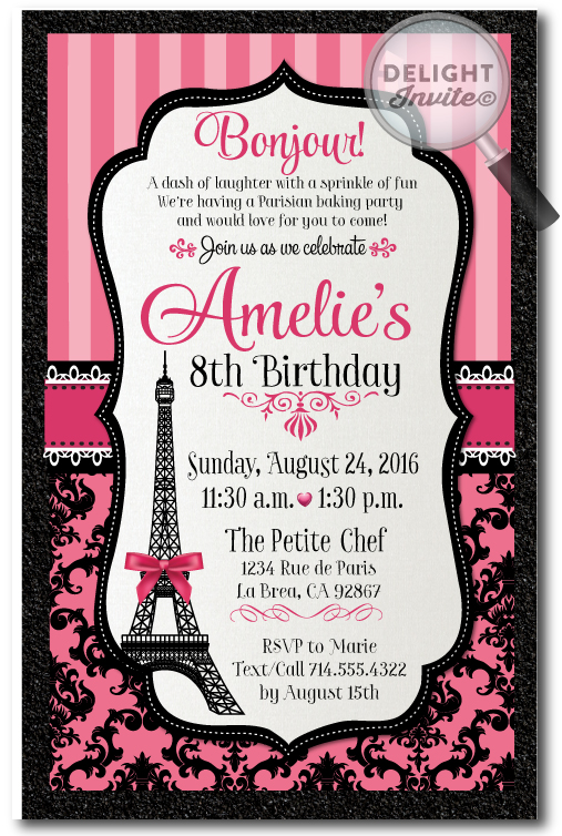 Parisian French Paris Birthday Invitations Di 685 Ministry