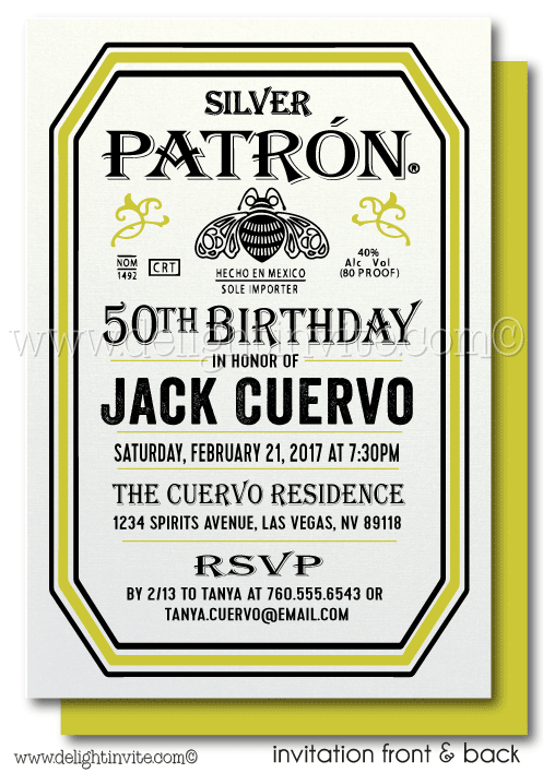 Tequila Patron 50th Birthday Invitations
