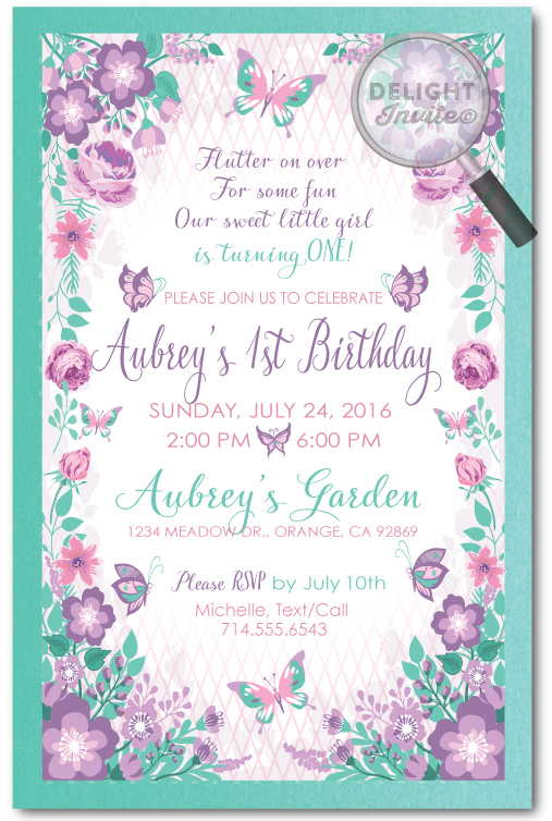 Secret Garden Lavender Butterflies 1st Birthday Invitations