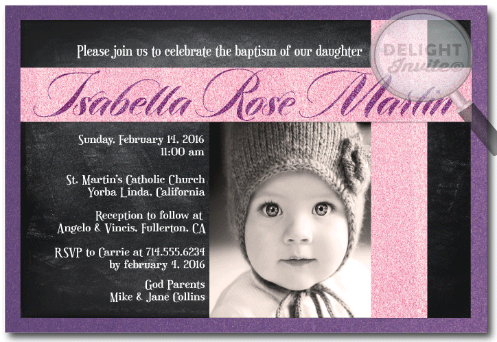 Pink and Purple Chalkboard Girl Baptism Invitations DI803