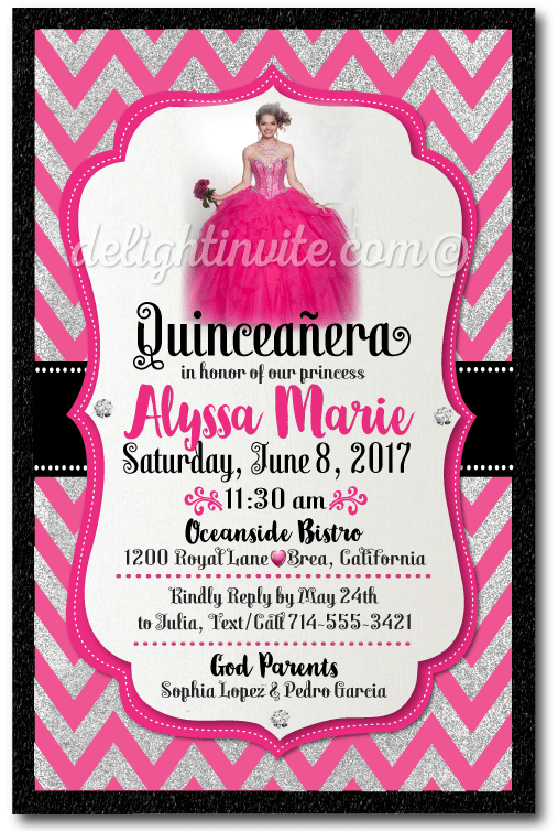 Pink and silver chevron quinceaera invitations pretty in pink pink and silver chevron quinceaera invitations m4hsunfo Image collections