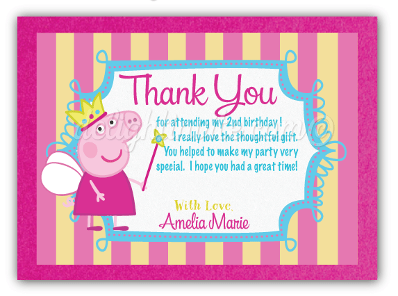 Princess Peppa Pig Thank You Cards Di 619ty Ministry Greetings