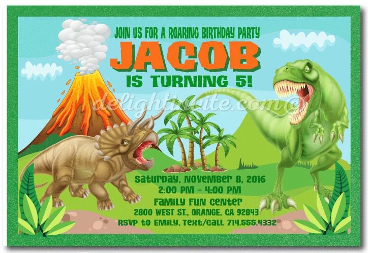 T Rex Dinosaur Birthday Invitations