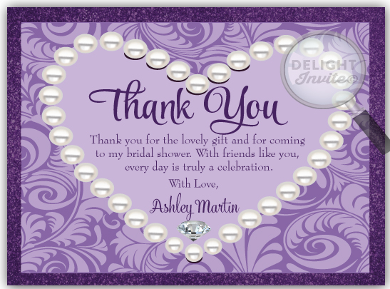 Diamonds Pearls Bridal Shower Thank You Card DI 1500TY Ministry Greetings Christian Cards