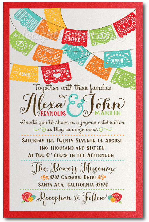 Mexican Fiesta Paper Flags Wedding Invitations