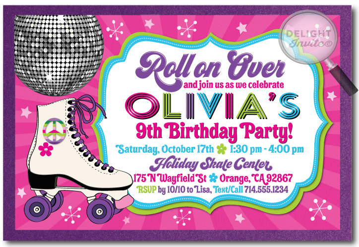 80s Retro RollerSkate Birthday Party Invitation DI209