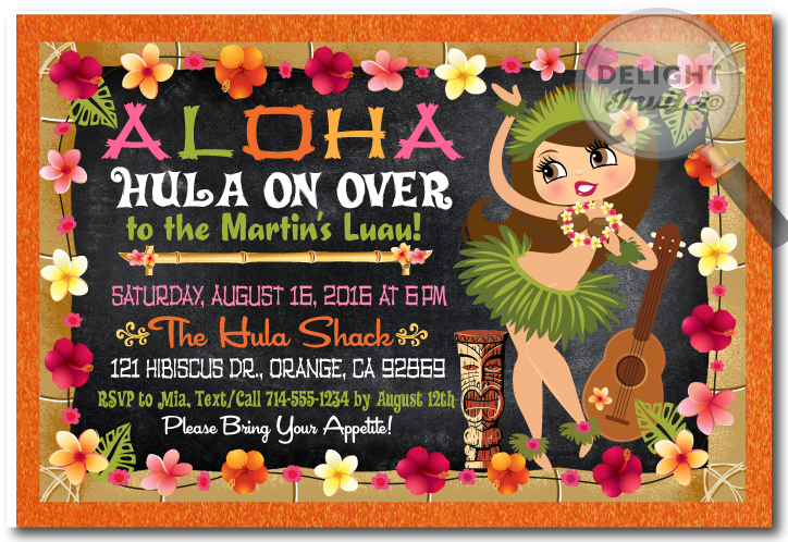 Hula Girl Hawaiian Luau Invitations