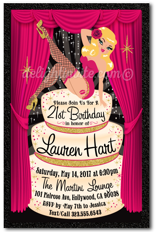 Rockabilly Pinup Girl Burlesque 21st Birthday Invitations