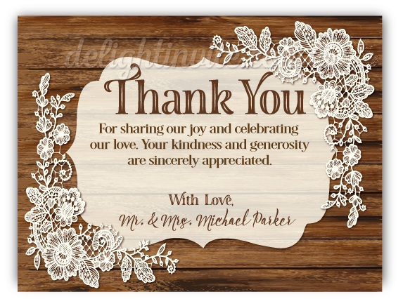 Rustic Vintage Lace Wedding Thank You Cards Di 5022ty Ministry