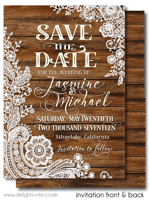 rustic wood vintage lace save the date cards di 5022sd ministry