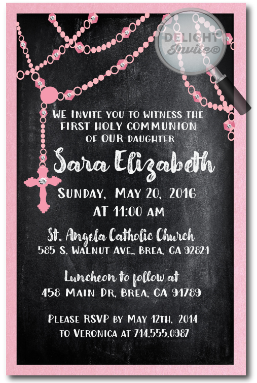 Vintage Chalkboard Rosary Communion Invitation