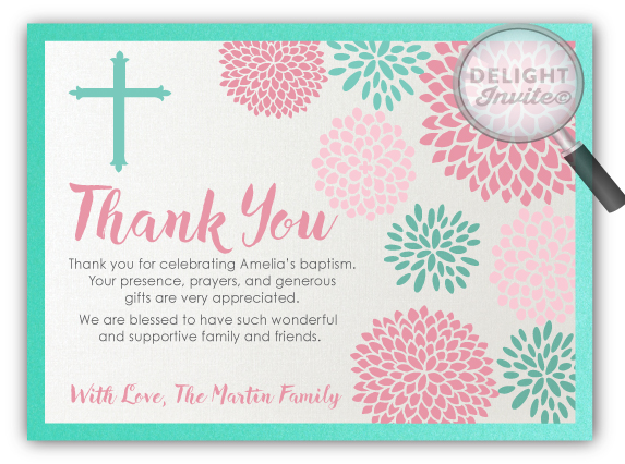 Spring Floral Baptism Thank You Cards Di 820ty Ministry