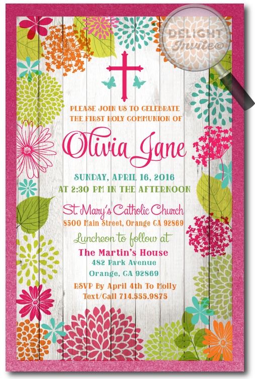 Rustic Floral First Holy Communion Invitations