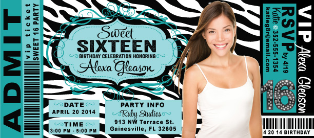Sweet 16 birthday party ticket invitation di 8053 ministry sweet 16 birthday party ticket invitation filmwisefo