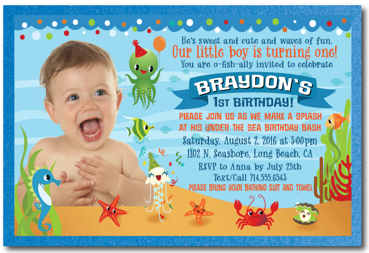 Under The Sea 1st Birthday Invitations For Boys