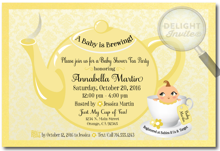 Unisex yellow tea party baby shower invitations di 4522 ministry unisex yellow tea party baby shower invitations filmwisefo