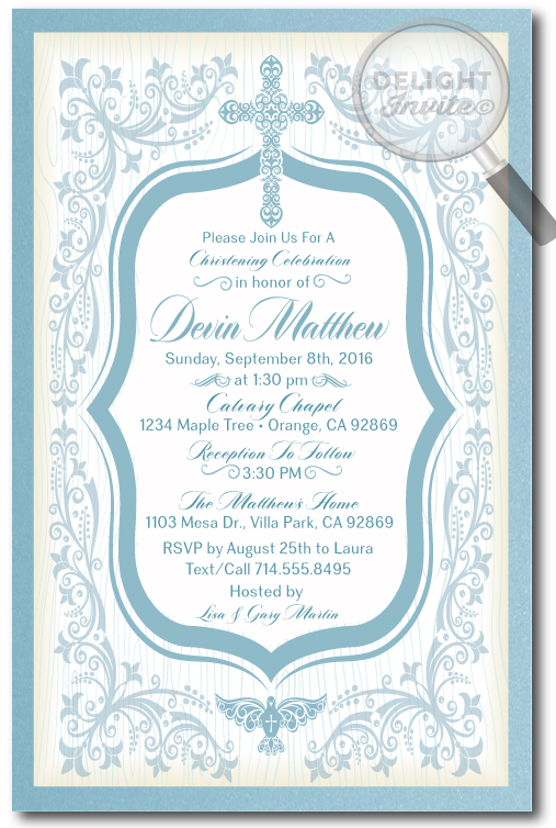 vintage blue boy baptism invitations di 807 ministry greetings