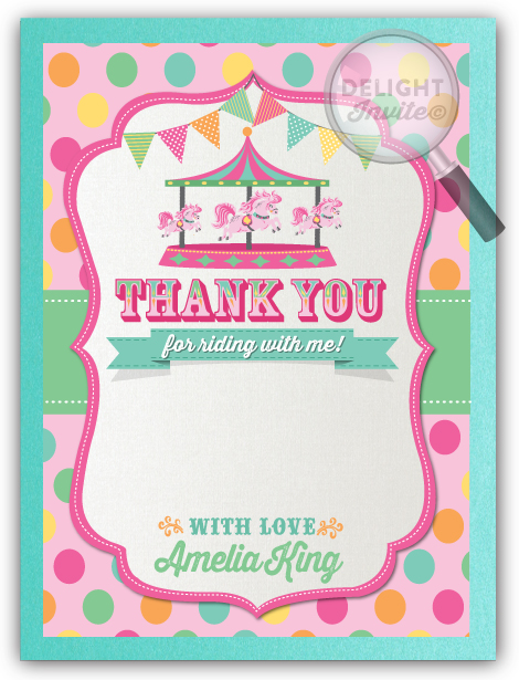 Vintage carousel 1st birthday thank you cards di 253ty ministry vintage carousel 1st birthday thank you cards m4hsunfo