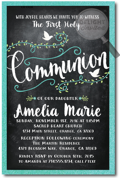 Vintage Chalkboard Doves Communion Invitation