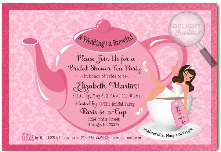 Pin-up Girl Tea Party Bridal Shower Invitations [DI-1510 ...
