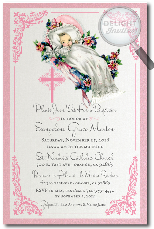 1950's Vintage Baby Baptism Invitations