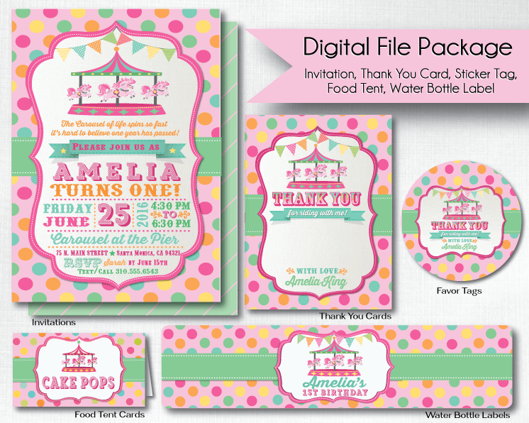 Vintage Carousel 1st Birthday Invitations DI253DP Ministry