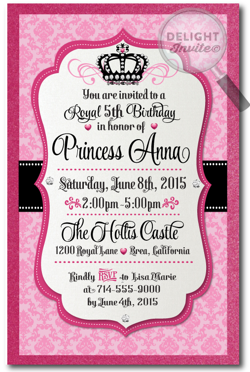 Damask Princess Crown Birthday Invitations Diva Pink Black