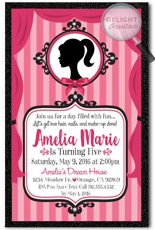 Vintage Pink Barbie Birthday Invitations DI669 Ministry