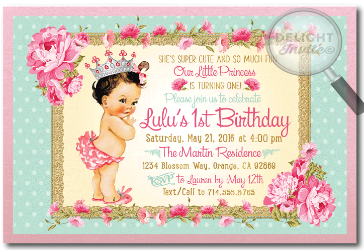 vintage princess baby 1st birthday invitations di 693 ministry