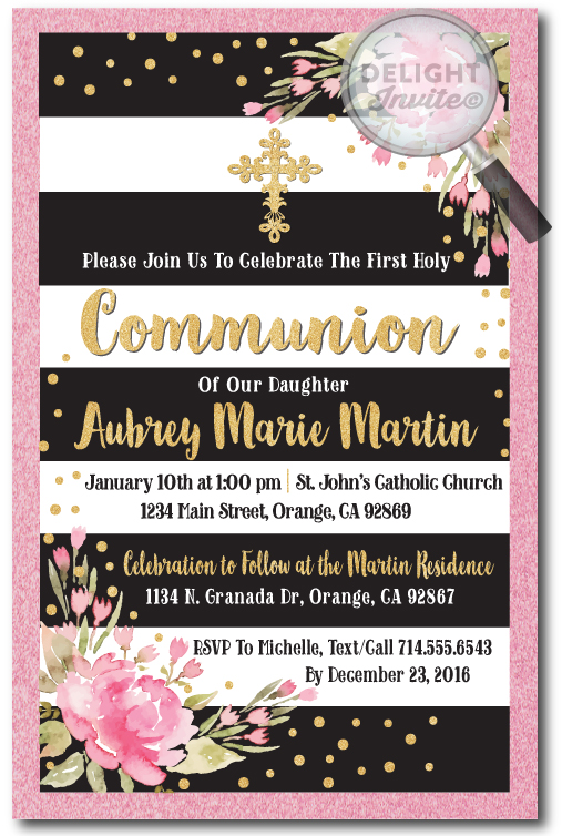 Vintage Pink, Black, and Gold Communion Invitation for Girls