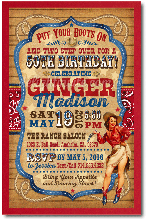 Vintage Pin Up Cowgirl 50th Birthday Party Invitations