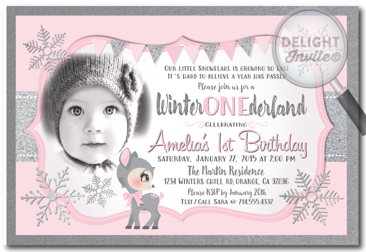 winter wonderland birthday invitations - Winter Onederland Party Invitations