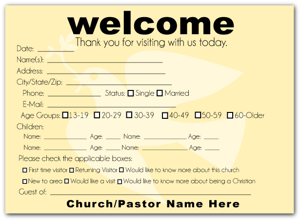 Modern Dove Welcome Visitor Postcard - Click Image to Close