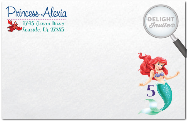 Princess Ariel Little Mermaid Birthday Invitations DI 282